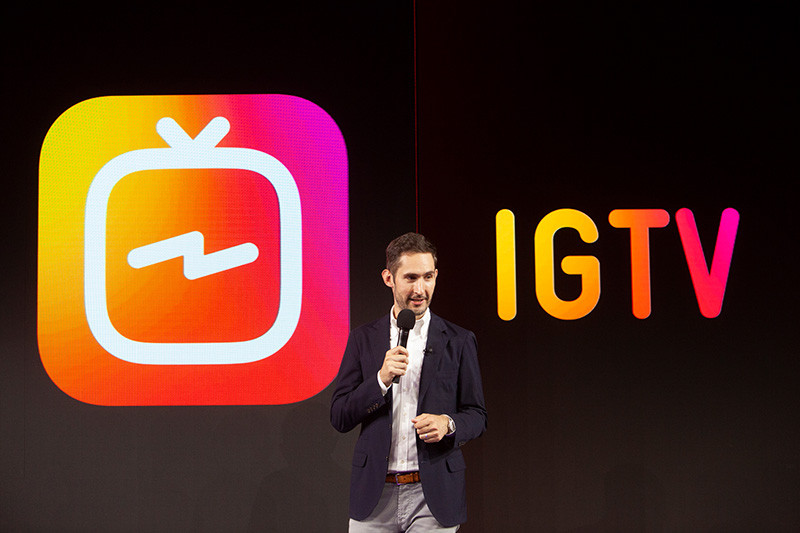 Kevin Systrom, CEO e fundador do Instagram, no anúncio do IGTV